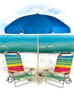 2 Easy Carry Beach Chairs with Easy Open Umbrella