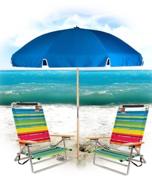 2 Easy Carry Beach Chairs with Easy Open Umbrella 1