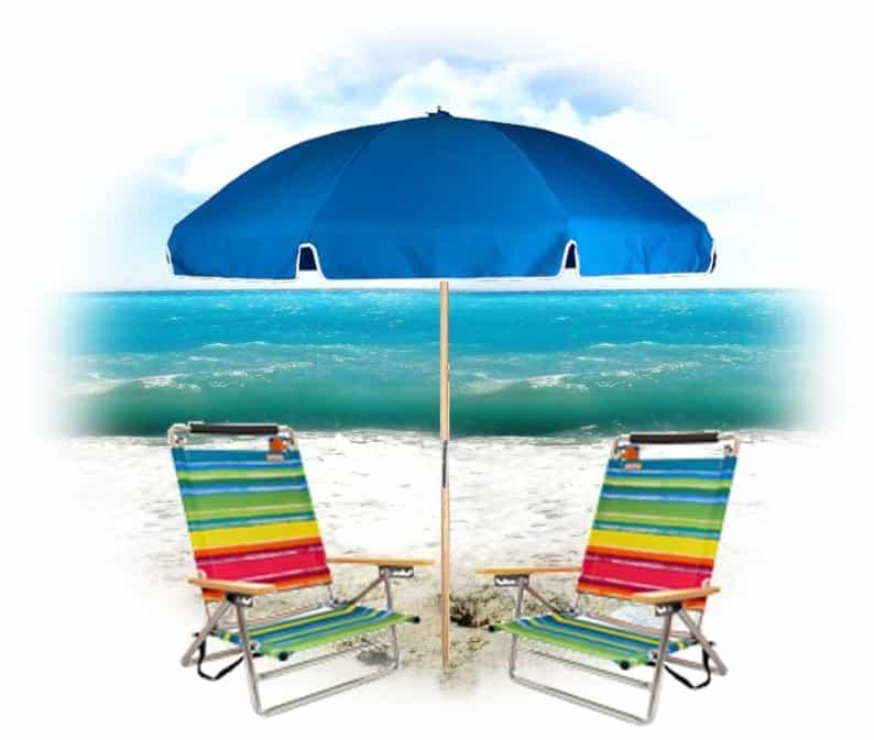 2 Easy Carry Beach Chairs   2 Wood Lounge Beach Chairs   2 Umbrellas   2