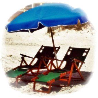 2 Wood Chairs, 1 Umbrella