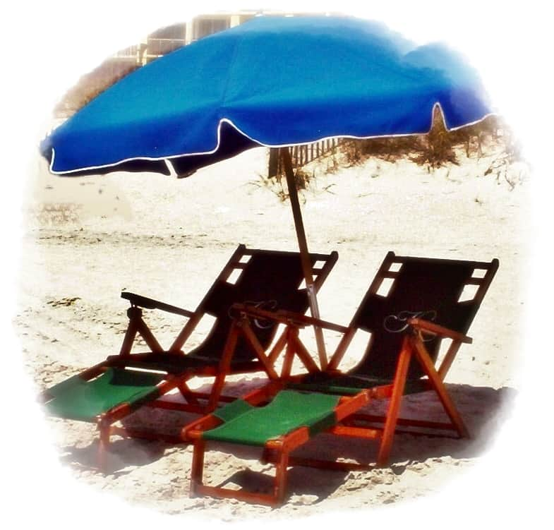 2 Easy Carry Beach Chairs - 2 wood lounge Beach Chairs - 2 Umbrellas - 2 Boogie Boards