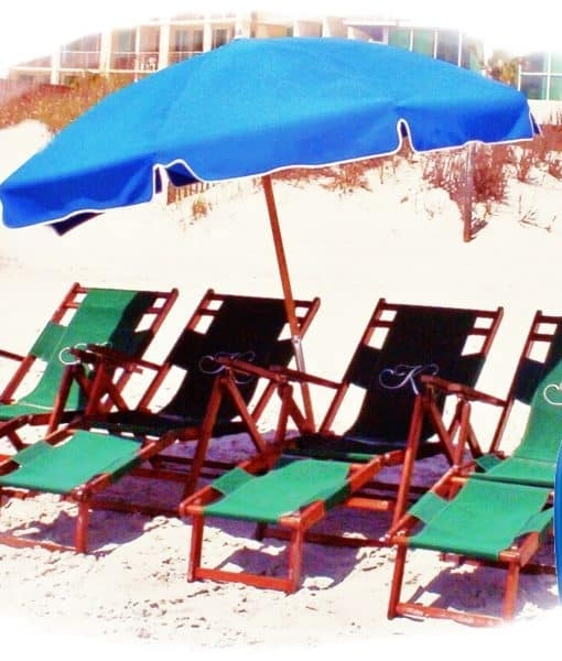 4 wood Chairs, 1 Umbrella, 1 Boogie Board