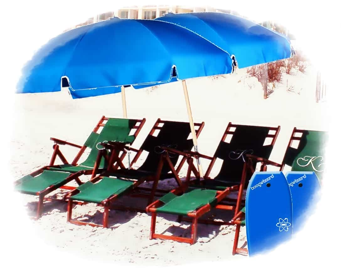 4 wood Chairs, 2 Umbrellas, 2 Boogie Boards